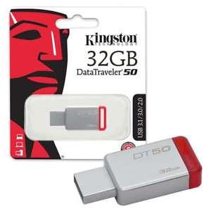 KINGSTON 32GB pendrive DT50 USB3.0 - ezüst-piros